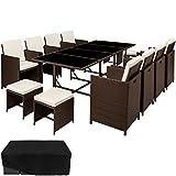 TecTake Poly Rattan 8+4+1 Sitzgruppe | 8 Stühle 4 Hocker 1 Tisch | inkl. Schutzhülle & Edelstahlschrauben | - Diverse Farben - (Braun Mixed | Nr. 402101)