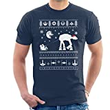 Santa With AT AT Reindeer Star Wars Christmas Knit Men's T-Shirt