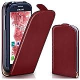 OneFlow Tasche für Samsung Galaxy S3 Mini Hülle Cover mit Magnet | Flip Case Etui Handyhülle zum Aufklappen | Handytasche Handy Schutz Bumper Schutzhülle mit Schale in Dunkelrot