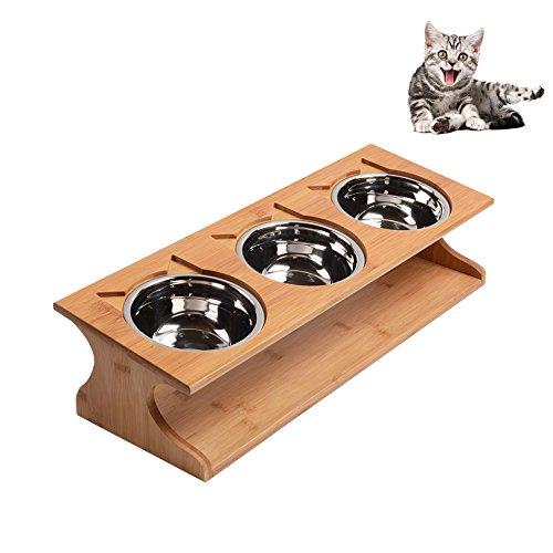 Petacc Katzennäpf Hundenäpf Hoch Edelstahl Futternäpfe für Katzen und Welpen mit Massivholz Ständer (51*17.5*12cm)
