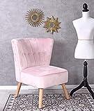 Unbekannt Vintage Sessel Rosa SAMT Samtstuhl 50er Jahre Stil Stuhl Cocktailsessel Palazzo Exklusiv