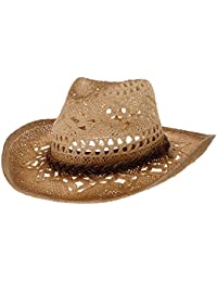 WITHMOONS Cowboy Cappello a Tesa Larga Western Cowboy Hat Cool Paper Straw  Banded Chin Strap GN8765 9ffac83f30bb