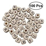 #8: 100 Pcs Alphabet Letter Wooden Beads 10 mm Cube Spacer Beads DIY Crafts for Bracelet Necklace Jewelry Making