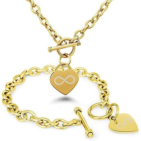 Placcato Oro Acciaio Inossidabile Icona infinito Inciso Modifica del Cuore Toggle Bracciale e la Collana