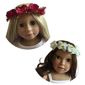 NEW YORK DOLL COLLECTION Dos Cabezas 18 cm-Corona de Flores con Cinta de Raso roja y Blanca Juego de 2 para muñecas-Se Adapta a American Girl Dolls (10325042)
