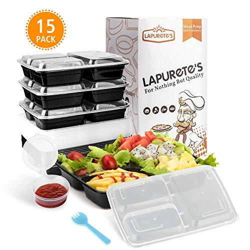 Hot Plate Holder ([15 Pack] 3 Compartment BPA-frei meal prep containers Wiederverwendbar Kunststoff Frischhaltedosen mit Deckel. Stapelbar Mikrowelle Gefrierschrank Spülmaschinenfest Bento Lunch Box Set)