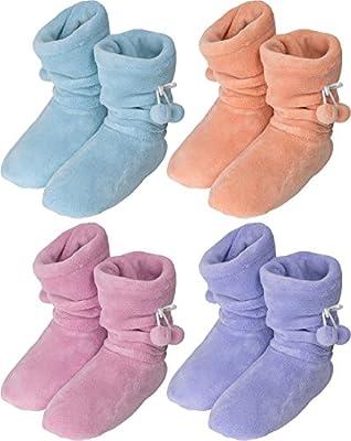 Damen Fleece Hausschuhe mit rutschfester Sohle und Bommeln am Schaft von normani® bei Outdoor Shop