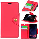 LG Q7 Leather Wallet Case with Leather Case, Meroollc LG Q7 Flip Cover, Leather Case, Pouch Case (Red)