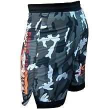 XXR Pantalones cortos para deportes de lucha y artes marciales, diseño de camuflaje, color verde o gris, color Urban-Camo, tamaño large