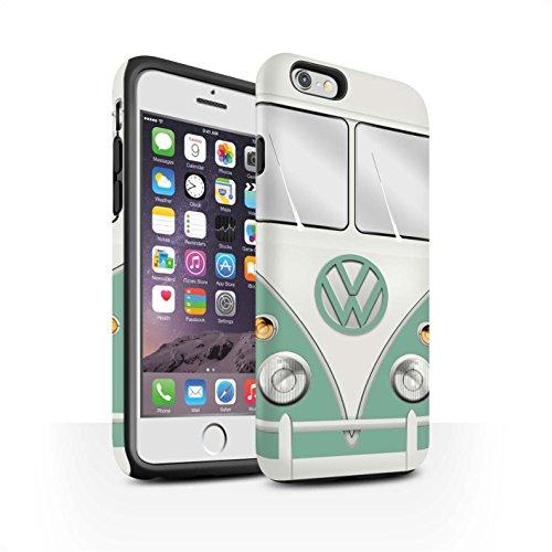 STUFF4 Matte Harten Stoßfest Hülle / Case für Apple iPhone 6S / Titan Rot Muster / Retro T1 Wohnmobil Bus Kollektion Türkisgrün