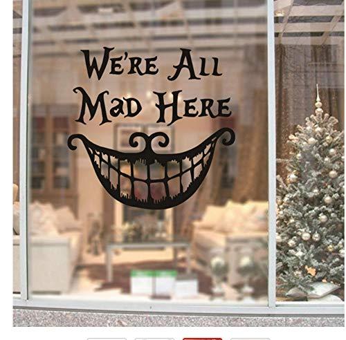 Wandaufkleber Halloween Christmas Decor Wandaufkleber Abziehbilder Wir sind alle hier wütend Vinyl Zitate Aufkleber lustiges Lächeln Gesicht großen Mund Dekor