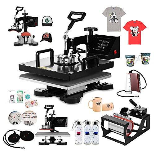 Preisvergleich Produktbild BananaB Transferpresse 6 in 1 38x38cm Sublimations Maschine T Shirt Heat Press Machine Tassenpresse und Cap Presse für Platten Becher Schalen Hut (6 in 1 38x38cm)