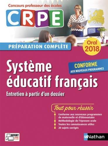 CRPE oral 2018. Système éducatif français (entretien à partir d'un dossier)