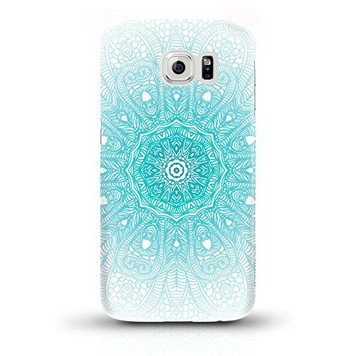 """JUNIWORDS Handyhüllen Slim Case für Samsung Galaxy S6 - Motiv """"Bunter Elefant schwarz"""" Schutzhülle für Ihr Smartphone Türkiser Mandala"""