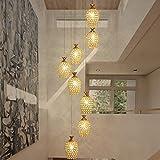 CZZ Gbyzhmh Crystal Chandelier Lampe, modernes minimalistisches Restaurant & kreative Lange Lampen Kronleuchter Treppenhaus,Gold