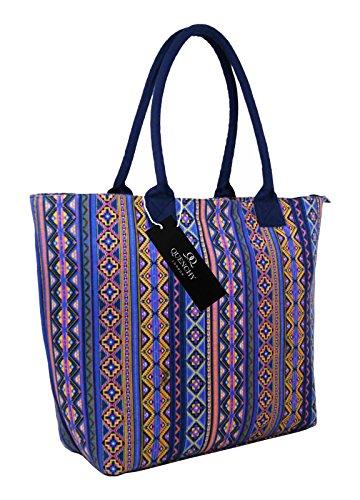 Borse per la spesa in tela,borse ideali per la spiaggia, borsa a tracolla per vacanza, stile shopping, 17stampa floreale per estate, design grazioso, a pois, da parete fiore, tinta unita, colore: bl Pink Aztec