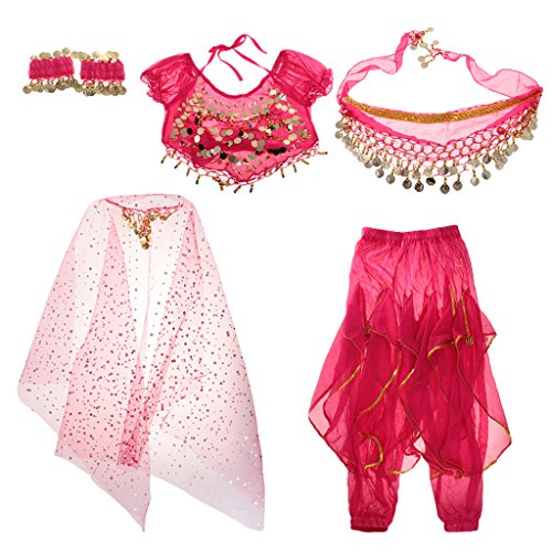 Gazechimp Kinder Bauchtanz Kostüm Set Münze Quaste Muster - Rose, (Muster Kostüme Bauchtanz)