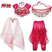 Gazechimp Conjunto de Traje de Danza de Vientre de Niñas Adornos con Borla de Moneda Artificial Disfraz de Fiesta de Halloween de Noche