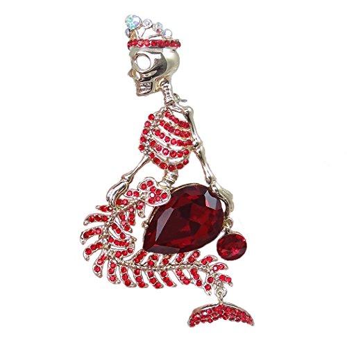 Flyonce Broches Finas Mujer Esqueleto de Sirena con Corona Gótico para Regalo Boda Fiesta Rojo