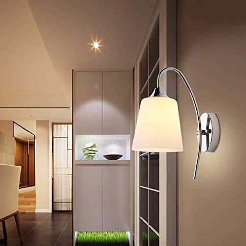YM@YG elegante soggiorno camera da letto lampada da parete del corridoio Semplice Creativo lampada balcone LED semplice corridoio camera da letto camera da letto vetro parete Applique in ferro