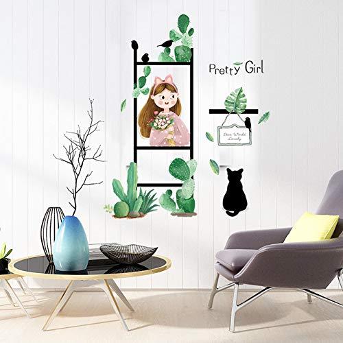 ädchen Grünpflanzen Wandaufkleber Frische Abnehmbare Wohnzimmer Balkon Schlafzimmer Abziehbilder Büro Coffee Shop Dekoration ()