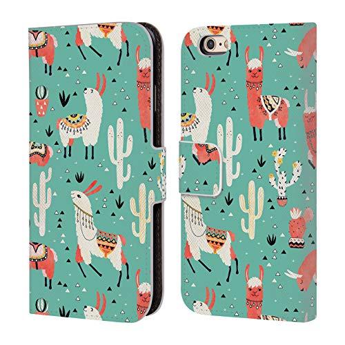 Head Case Designs Offizielle Lidiebug Froehliches Lama 3 Tiermuster Leder Brieftaschen Huelle kompatibel mit iPhone 6 / iPhone 6s