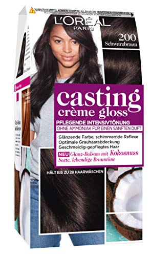 L'Oréal Paris Casting Crème Gloss, Glanz-Reflex-Intensivtönung 200, in Schwarzbraun