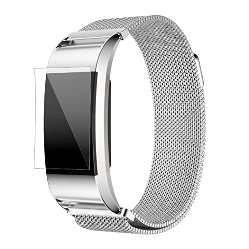 Fitbit Trageriemen - Kingwo Milanese Edelstahl Uhrenarmband Armband + HD Film Armbanduhr Ersatzband für Fitbit Charge 2 (Silber)