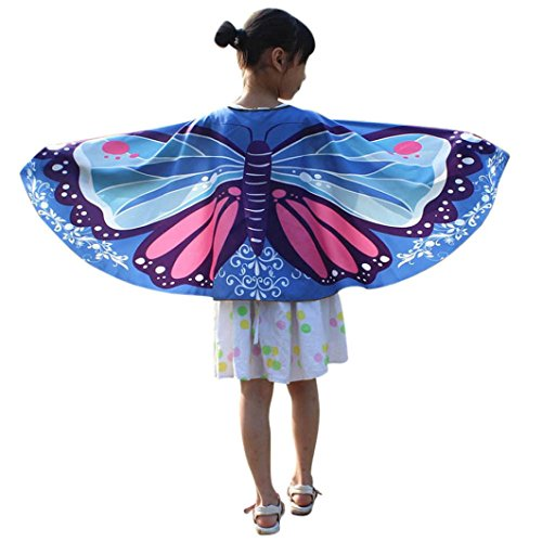 OVERDOSE Kind Kinder Jungen Mädchen Karneval Kostüm Faschingskostüme schmetterlingsflügel Kimono Flügel Schal Cape Tuch Pashmina Kostüm Zubehör Butterfly Wing ()