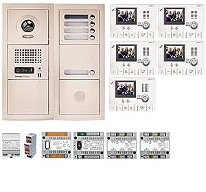 Aiphone - Pack interphone vidéo 5 BP avec 5 moniteurs GT1CL préprogrammés - GTV5E ref:200314