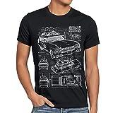 style3 ECTO-1 Blaupause Herren T-Shirt geisterjäger, Größe:L, Farbe:Schwarz