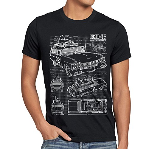 style3 ECTO-1 Cianografia T-shirt da uomo acchiappafantasmi, Dimensione:L;Colore:Nero