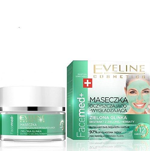 Eveline Face Med Detox Gesichtsmaske Tonerde mit Grüner Tee 50 ml Grüne Gesichtsmaske