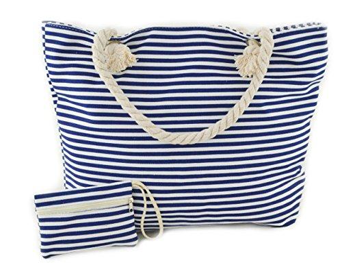 Strandtasche STREIFEN Marine-Strandtasche aus Baumwolle