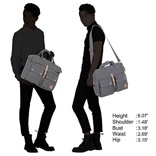 Veevan Herren Canvas Aktentasche Laptoptaschen für 17 Zoll Grau Grau