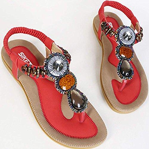 Tonsee Femmes sandales Bohème perles Clip Toe sandales plage Herringbone sandales Rouge