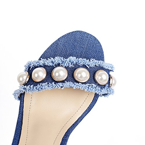 ENMAYER Femmes Denim Matériel Talons hauts Chaussures pour femmes Pearl Decoration Casual Party Stiletto Sandals Bleu foncé