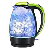1.8L Edelstahl Glaswasserkocher Blaue Glas Wasserkocher Elektrischer Wasserkesse LED Beleuchtung Farbe BPA Frei/Trockengehschutz / Auto-OFF 1800W / Kitchen Instant Boiled Water Jug,Green