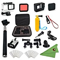 Xixihaha 28 in 1 accessories Kit for GoPro Hero6/5 Action Video Camera Waterproof Case Storage Bag Bike Mount Selfie stick Diving filter Silicone Protective Case for GoPro Hero6/5 black Outdoor Sports