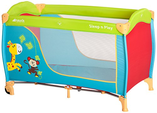 Hauck sleep n play go lettino da viaggio, incluse ruote, materassino e borsa di trasporto 120 x 60 cm pieghevole, jungle fun (colorato)