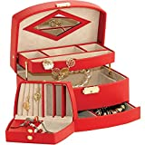 Lovely Red Bonded Leather Jewellery Box with Auto Opening lower Draw by Mele & Co