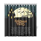 JSXMNA Decorazioni per la casa Tenda da Bagno Abstract Happy Halloween Oggetti Speciali Tessuto in Poliestere Impermeabile Tenda da Doccia per Bagno, 72 X 72 Pollici Tende da Doccia Ganci Inclusi