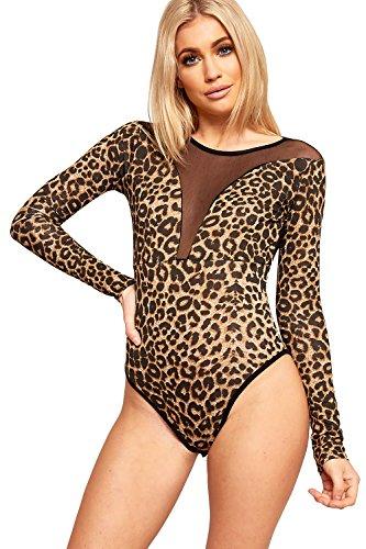 WearAll - Tier Leopardenmuster Mesh Back Top Langarm-Bodysuit - Leopard - 36-38 (Mesh-stretch-heels)