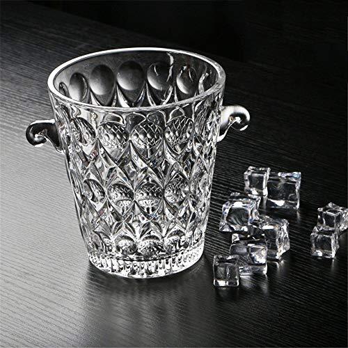 MYPNB Eiseimer Kristallglas Champagne EIS Bucket Bar KTV mit Eiswürfeln mit Griff und EIS Clip, Wasser-Tröpfchen (Color : Water Droplets)