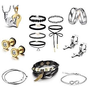 JewelryWe Schmuck Set Valentinstag Kalender 14-teilig Geschenke Ohrringe Ketten Ringe Armbänder für Damen Mädchen Freundin, Click-Button Set