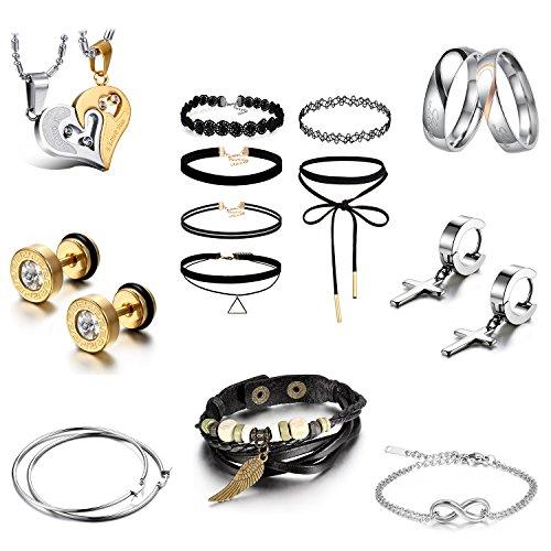 JewelryWe Schmuck Valentinstag Geschenk Set Valentinstag Kalender 14-teilig Geschenke Ohrringe Ketten Ringe Armbänder für Damen Mädchen Freundin, Click-Button Set (Stimmung Ring Und Halskette)