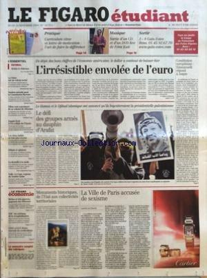 FIGARO ETUDIANT (LE) [No 18751] du 18/11/2004 - PRATIQUE - CURRICULUM VITAE ET LETTRE DE MOTIVATION - L'ART DE FAIRE LA DIFFERENCE - MUSIQUE - SORTIE D'UN CD ET D'UN DVD LIVE DE FEMI KUTI - SORTIR - J-8 GALA ESIEE - RELAIS ET CHATEAUX PAR ARMELLE HELIOT - LA CHINE SUR UN VOLCAN SOCIAL - SOUTIEN ATTENDU POUR LA COMMISSION BARROSO - FILLON VEUT CONVAINCRE DE SA VOLONTE DE REFORMER - EMPLOI FICTIF A L'EX-CELLULE DE L'ELYSEE - LES VIEUX HABITS NE FONT PLUS RECETTE - LA DENTELLE A LA MODE - VOILE -