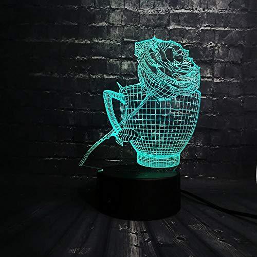 zcmzcm 3D Nachtlichter 3D Led Nachtlicht Rose Blume Coffe Cup Shop Dekoration Usb Lampe Schlaf Licht 7 Farbwechsel Geschenk Usb Base Ins Baby Cup