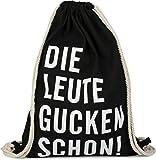 styleBREAKER Statement Turnbeutel mit 'DIE LEUTE GUCKEN SCHON!' Aufdruck, Rucksack, Sportbeutel, Beutel, Unisex 02012141, Farbe:Schwarz