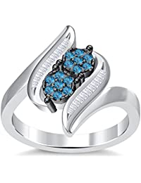 Silvernshine 3.5Ct Round Cut Sim Aquamarine Diamonds 14K White Gold PL Engagement & Wedding Ring